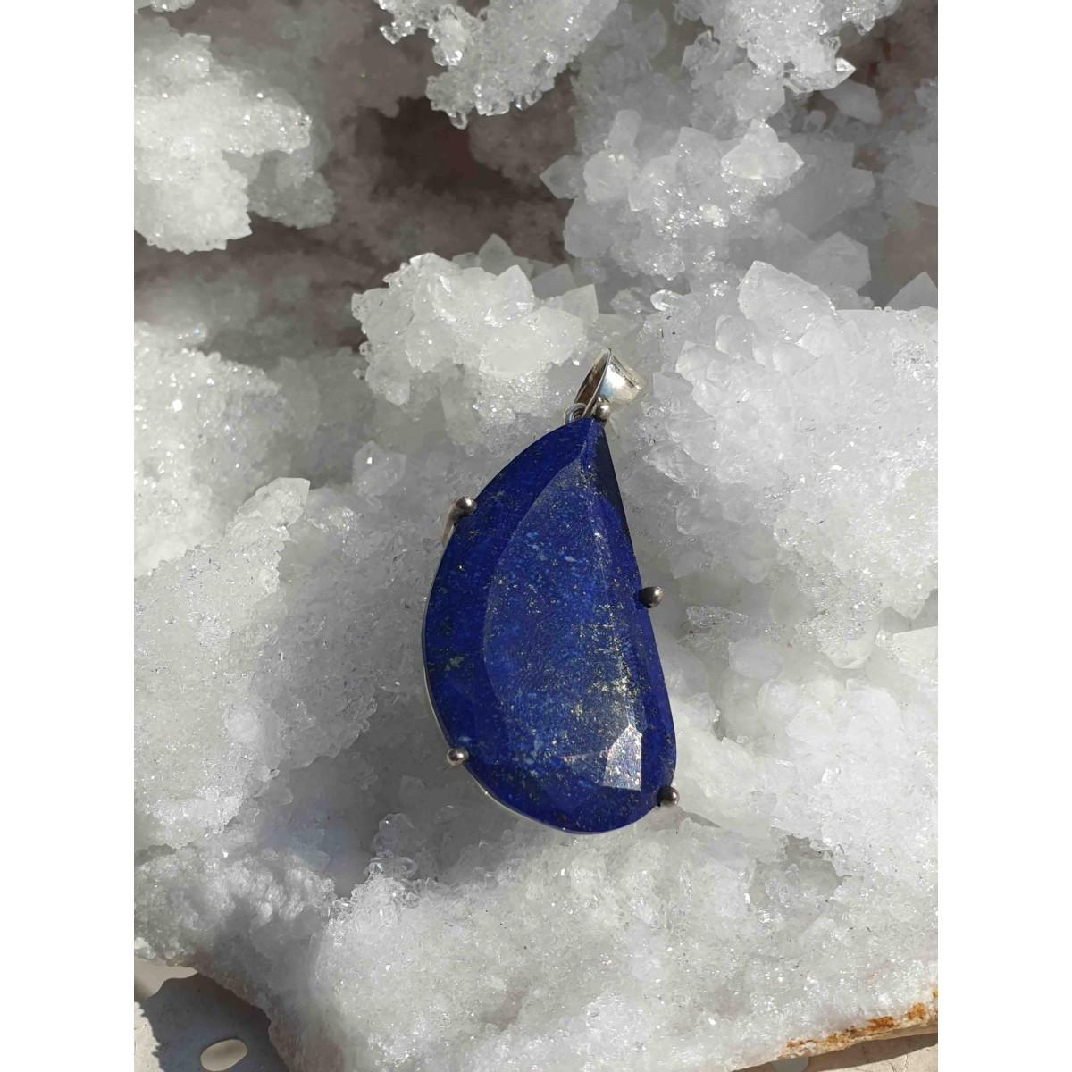 Pendentif Lapis Lazuli 'Demi-Coeur'