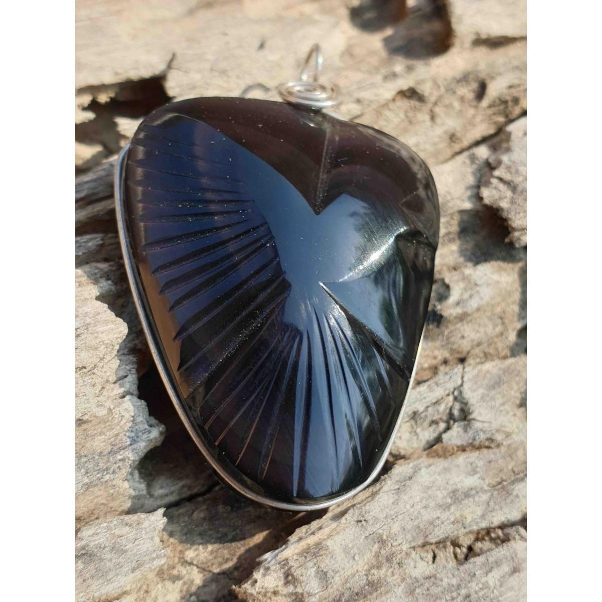 Pendentif Obsidienne oeil céleste 'Colombe'