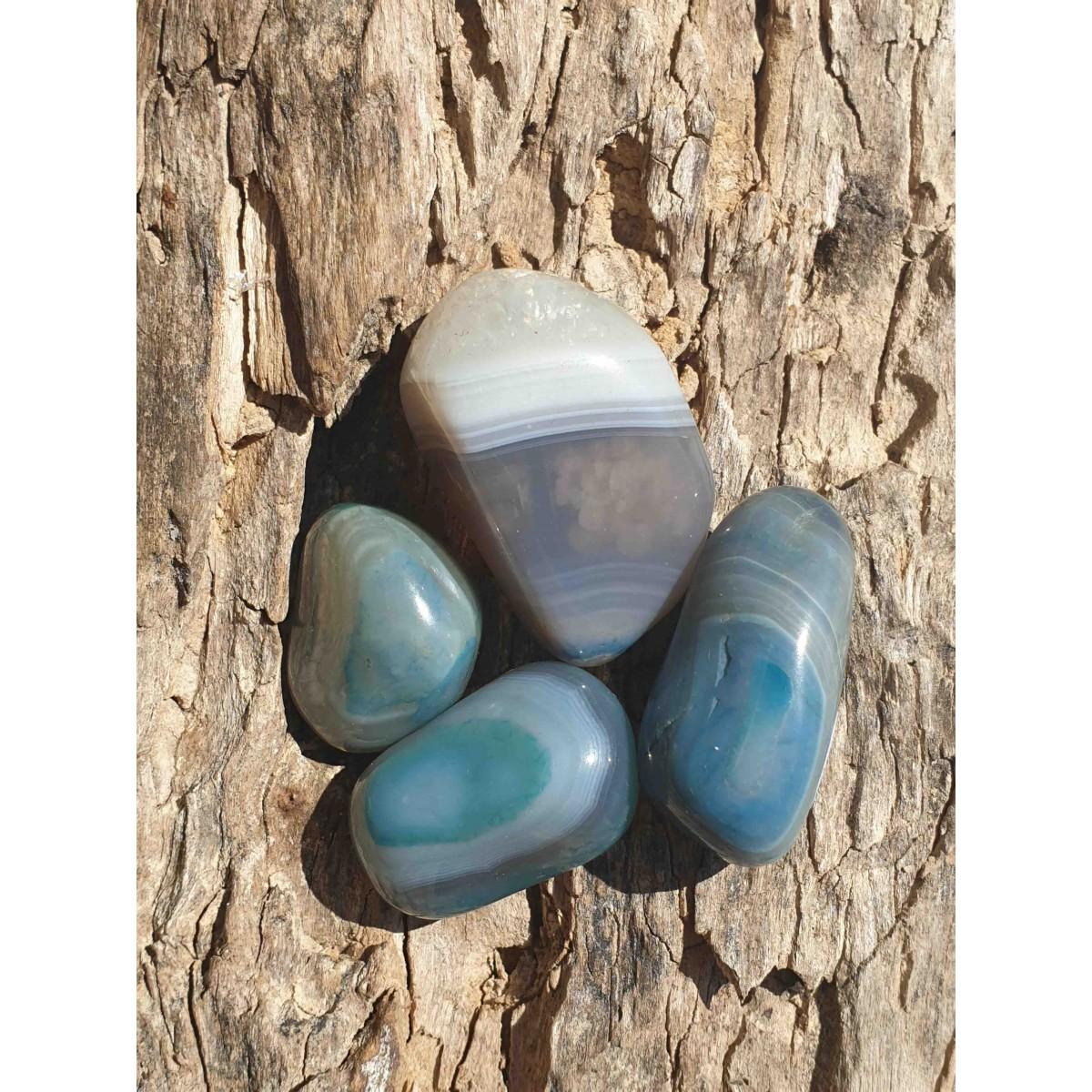 Agate bleue (pierre roulée)