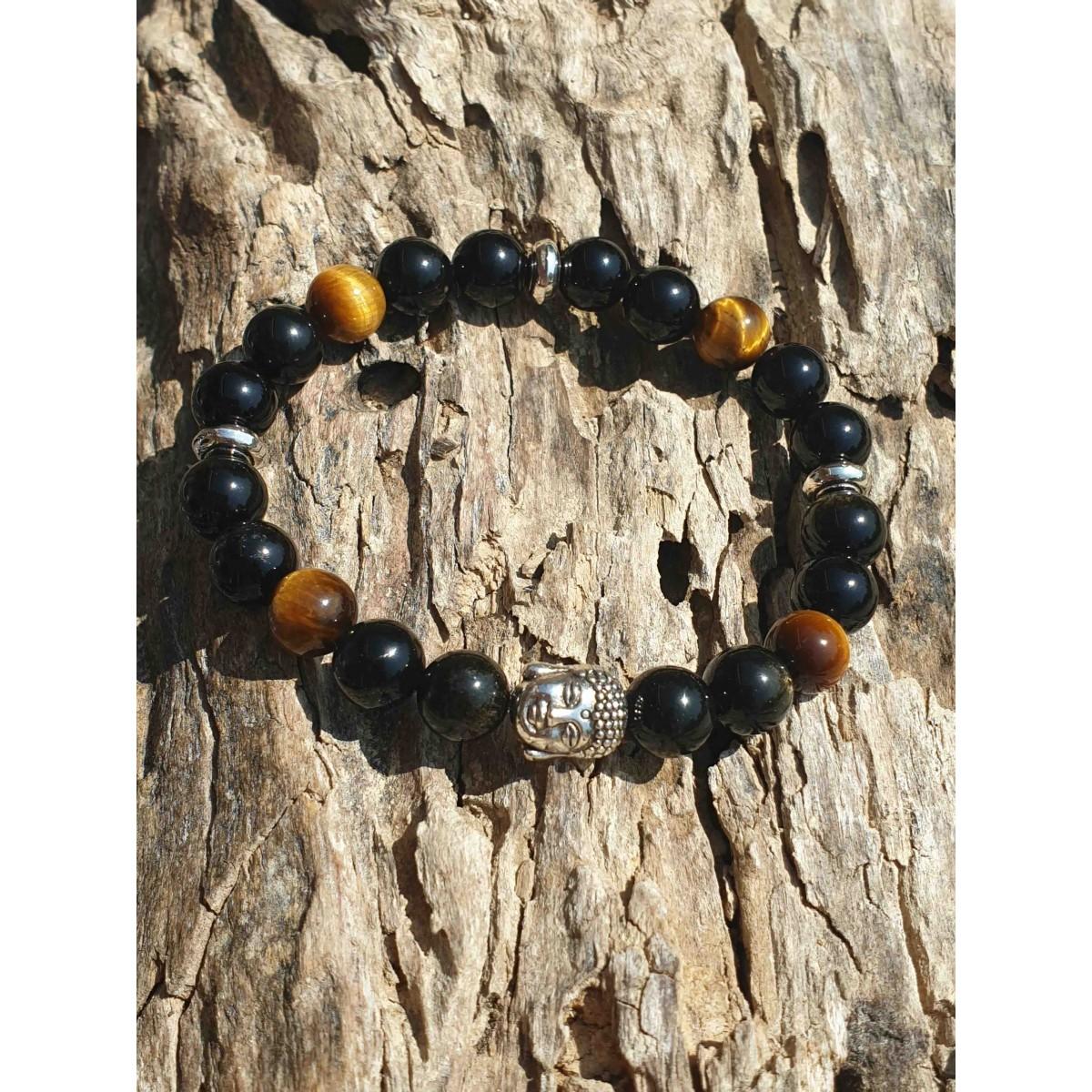 Bracelet Oeil de Tigre et Obsidienne Buddha