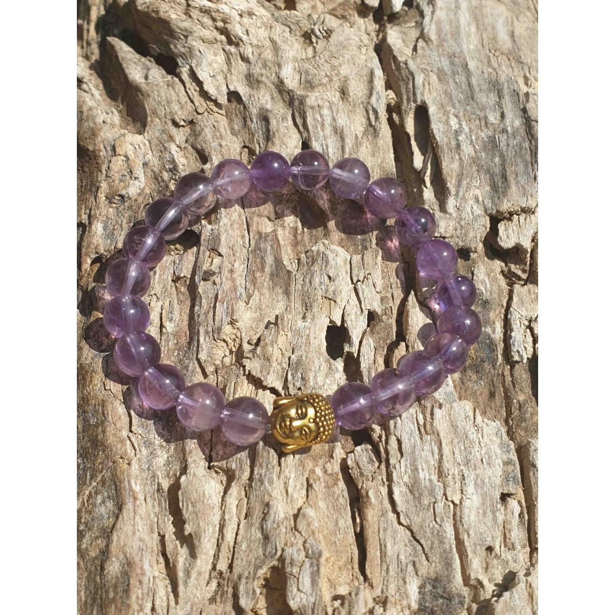 Bracelet Améthyste Buddha Or