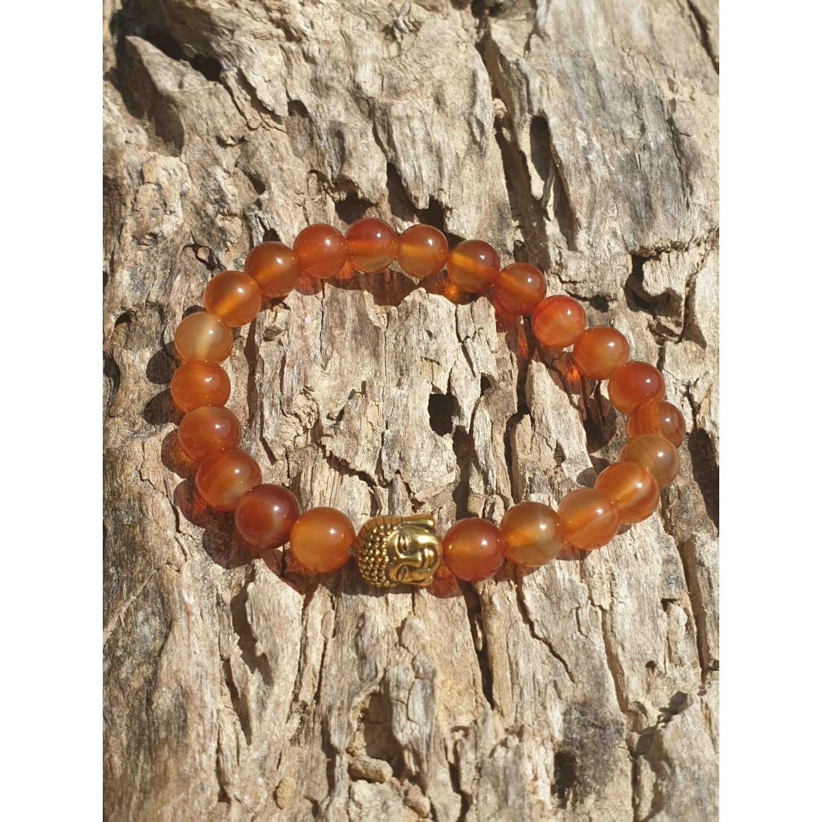Bracelet Cornaline Buddha Or