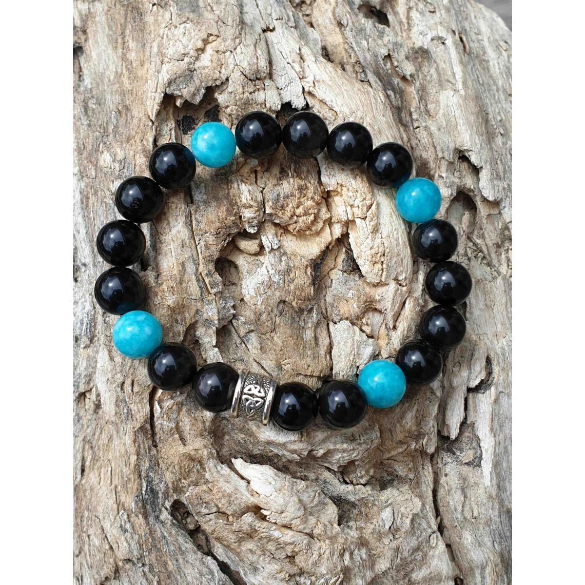 Bracelet Obsidienne dorée + Amazonite